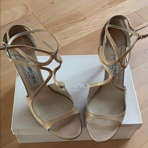 Jimmy Choo Ivette Nude Patent Leather Sandals